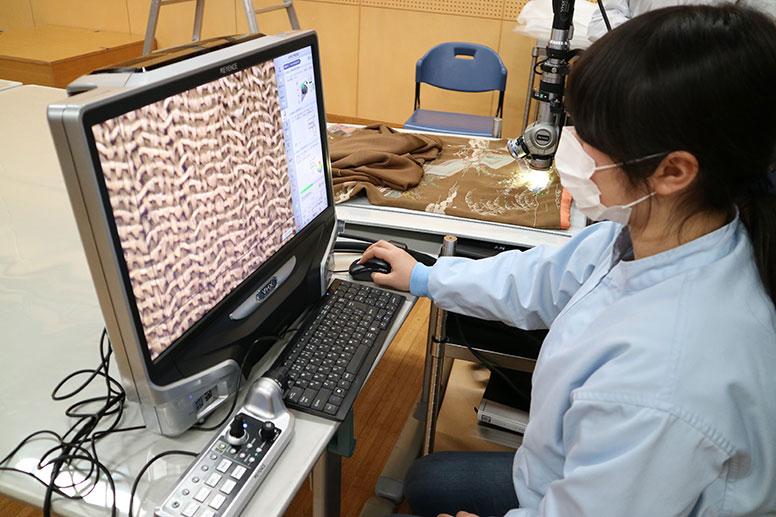 デジタルマイクロスコープを用いた繊維素材の同定