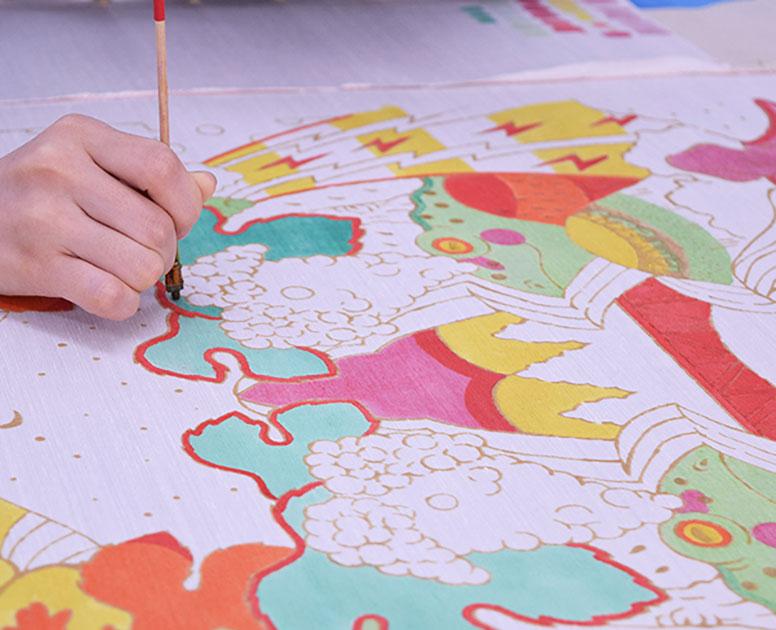 超微分天然物岩絵の具による型染め作品制作〈緑の部分〉